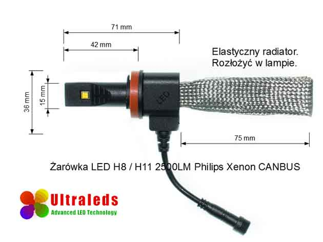 Żarówka zestaw LED H8 5000LM Philips Xenon CANBUS